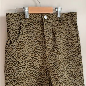 Emory Park | Army green leopard print shor…